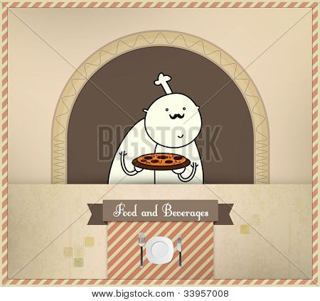 Chef Preparing Pizza | Food and Beverages Series | Layered Eps10 Vector Graphic