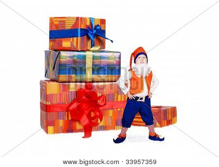 Little Funny Gnome With Gift Boxes