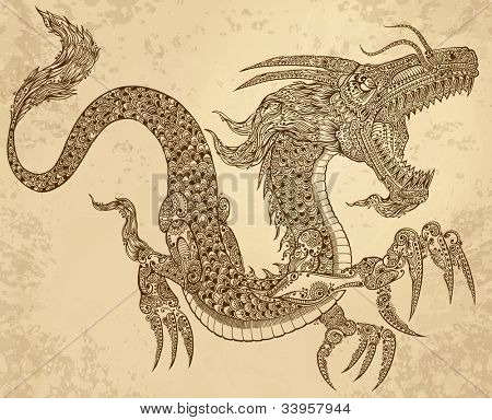 Henna tatuaje Dragon Doodle bosquejo tribales grunge Vector Illustration Art