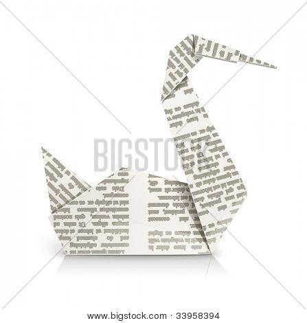 swan origami toy vector illustration isolated on white background EPS10. Transparent objects and opacity masks used for shadows and lights drawing