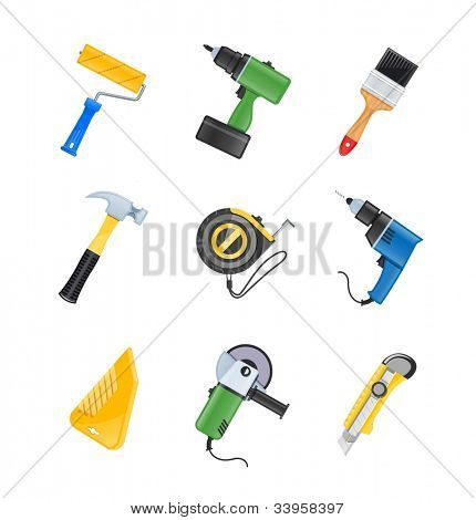 building tool icon set vector illustration isolated on white background EPS10. Transparent objects and opacity masks used for shadows and lights drawing