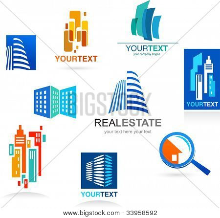 Collection of real estate icons and design elements