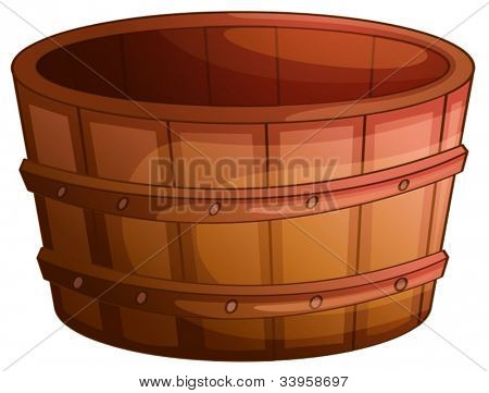 Illustration of an old wooden barrel