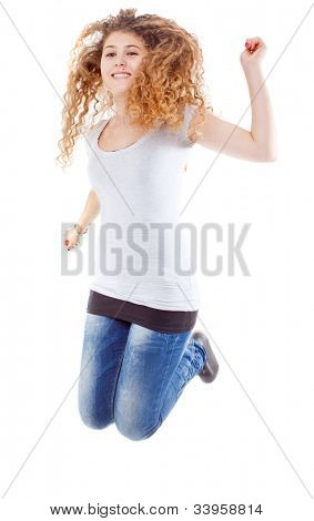 Young caucasian woman jumpin in joy. Isolated over white background.