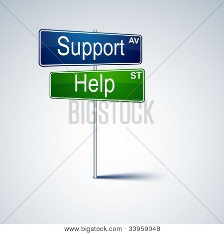 Vector direction road sign with support help words.