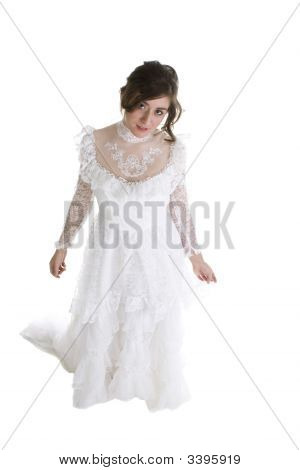 Brunette Model In Bridal Gown