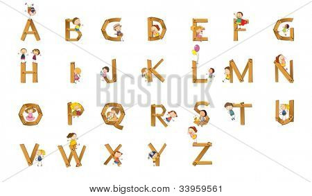 Illustration of kids playing on alphabet