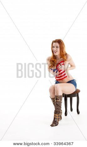 Sexy Caucasian Woman With American National Flag