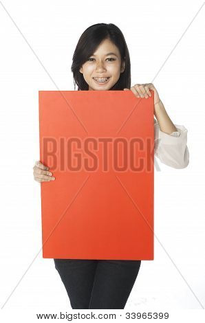 Woman Hold Banner