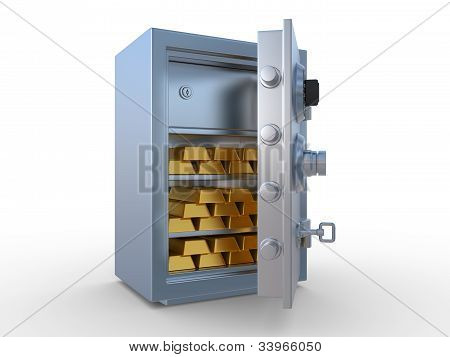 Gold Ingots In The Steel Safe