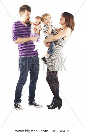 Cute Little Young Family Happy Together