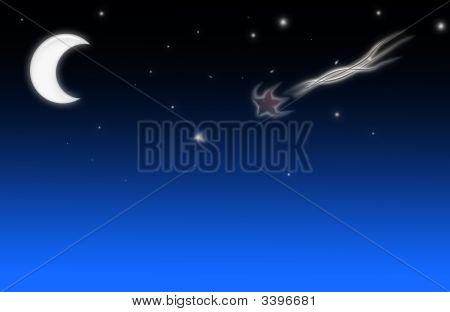Mond und Sternschnuppe
