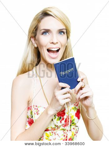 Excited Woman Clutching A Passport