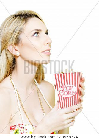 Woman Watching Movie At Cinema