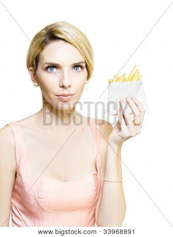 Woman With Greasy Packet Of French Fries