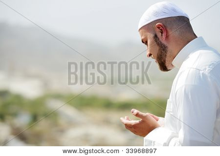 Muslim pilgrims praying on jabal Arafat, Hajj