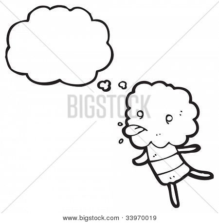 cartoon little cloud head creature sticking out tongue