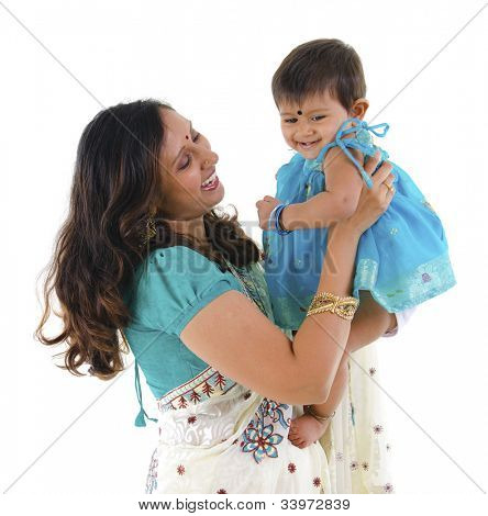 Happy Indian mother and daughter on white background