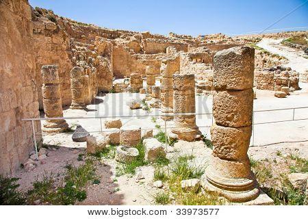 Ruins of Herodion temple castle in Judea desert, Palestine, Israel