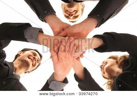 Gruppe händedruck mit einer Menge verschiedener Hände
