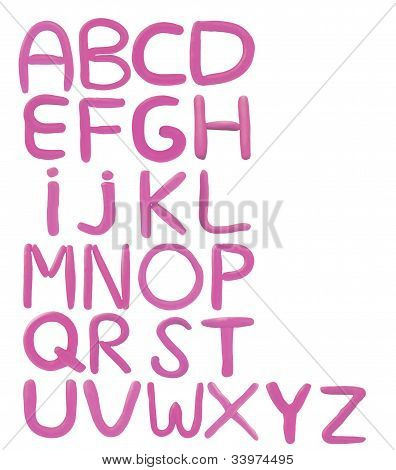 colorful clay sculpture alphabet isolated on white background