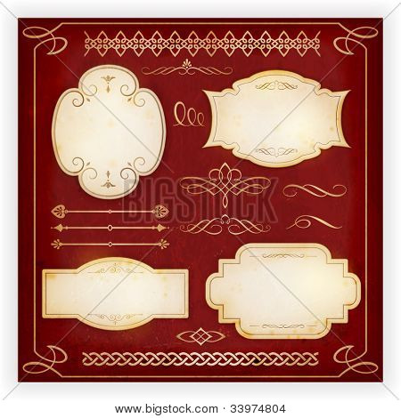 Set of 4 aged labels with embellishment and various ornate dividers, borders, frames and calligraphic elements. Perfect to embellish your designs, invitations, or announcements, etc. EPS10