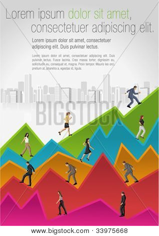 Template for advertising brochure with business people walking over chart
