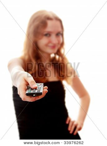 Young Woman With  A Remote Control
