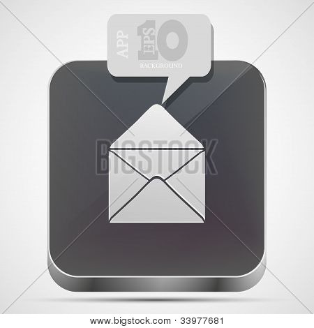 Vector Mail App Icon With Gray Bubble Speech. Eps10