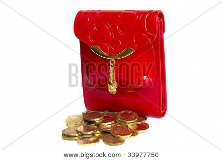 Red  Purse With Gold Metal  Isolated On White