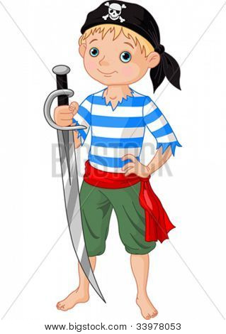 Illustration  of cute pirate boy holding sword