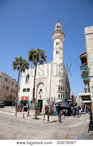 BETHLEHEM, ISRAEL-APRIL 28: The Mosque of Omar (Umar), built in 1860  in Arabic part of Bethlehem - the birthplace of Jesus of Nazarethon April 28. 2012. Bethlehem,Israel