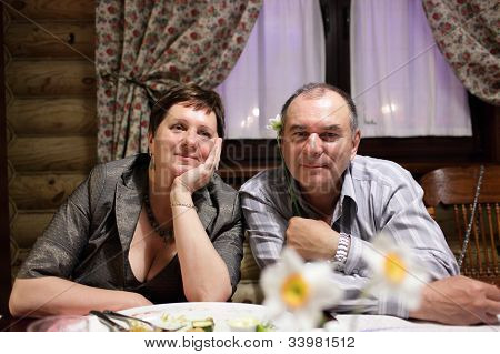 Mature Couple In Restaurant