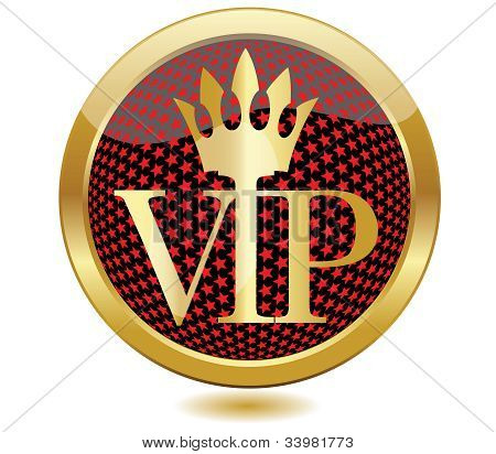 Golden VIP button.Vector