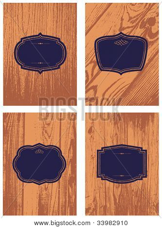 Vector Wood Background and Frame Set. Easy to edit. Perfect for invitations or announcements.