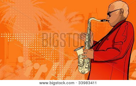 Illustration of a saxophonist on a grunge background
