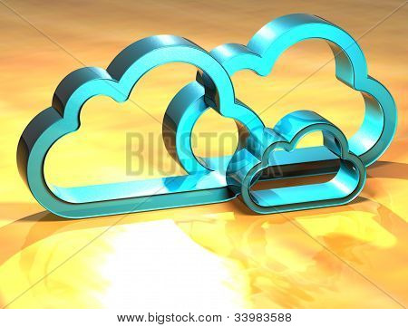 3D Cloud Blue Sign