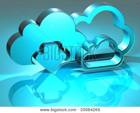3D Cloud Blue Sign