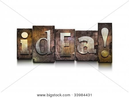 "The word ""idea"". Random letterpress type on grunge background."