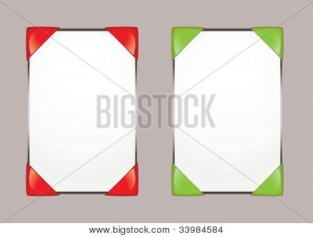 Two white paper note pads with bright coloured edge protectors and copy space