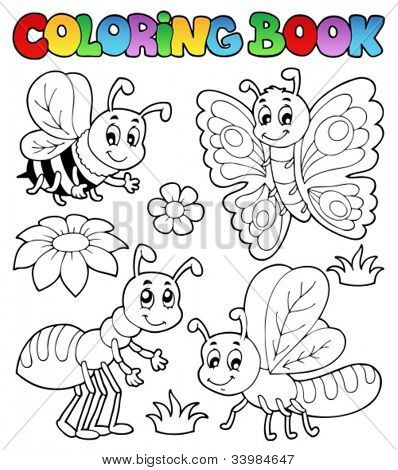 Coloring book cute bugs 2 - vector illustration.