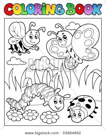 Coloring book bugs theme image 2 - vector illustration.
