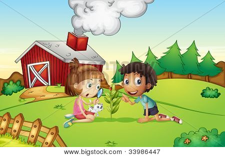 Illustration of kids at a farm - EPS VECTOR format also available in my portfolio.