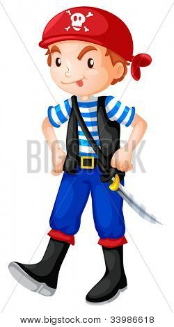 Illustration of a pirate boy - EPS VECTOR format also available in my portfolio.