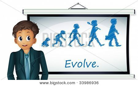 Businessman presenting evolution on board - EPS VECTOR format also available in my portfolio.