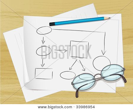 Office notes on paper with glasses - EPS VECTOR format also available in my portfolio.