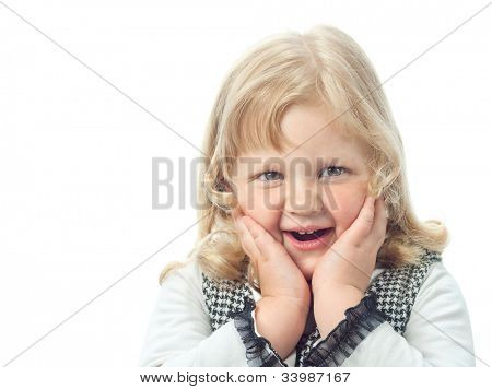 little child girl smiling isolated on white background studio shot face