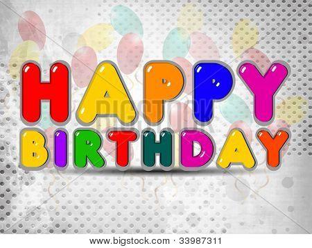 Balão colorido brilhante e sinal de desenhos animados de feliz aniversário. EPS 10.
