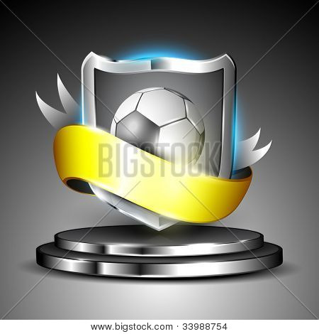 Winning soccer football shield on stage with yellow ribbon with silver metallic effect, grey background. EPS 10.