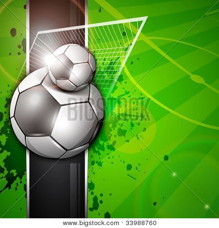 Illustration of soccer football in goal post on soccer stadium background. EPS 10.
